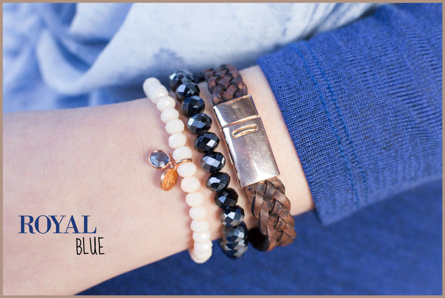 Inspiratie armbanden set royal blue