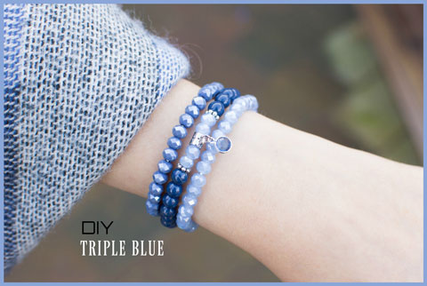 Inspiratie armbanden set Triple blue