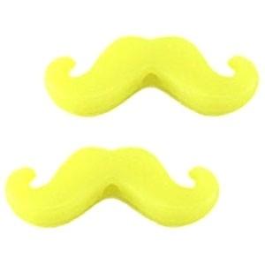 Kraal snor moustache acryl 20x8mm neon geel