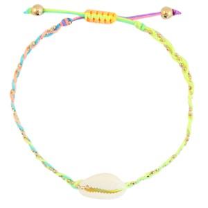 armbandje-kauri-gevlochten-neon-rainbow-gold
