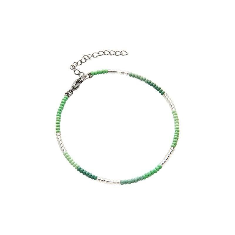 Armbandje kralen Biba kleurenmix groen zilverkleurig