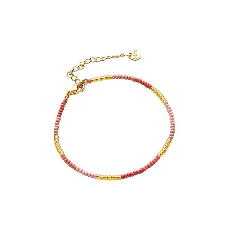 Armbandje kralen Biba kleurenmix roze 2 goudkleurig