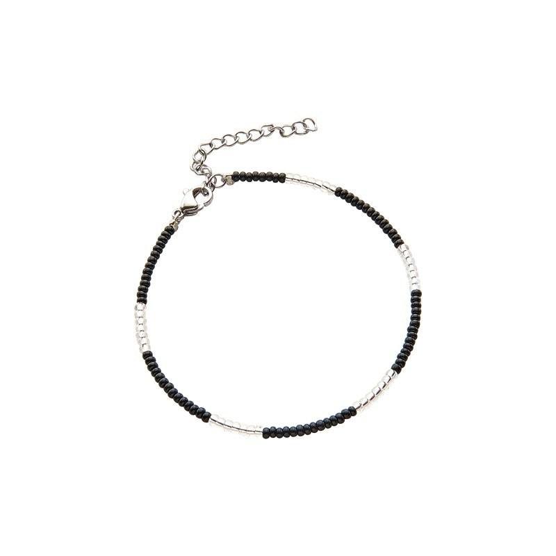 Armbandje kralen Biba kleurenmix zwart zilverkleurig