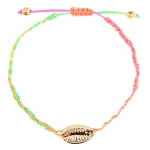 armbandje-gevlochten-neon-rainbow-gold-kauri-schelp-goud