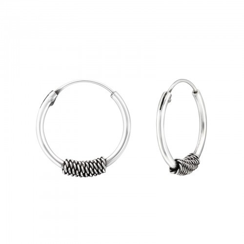 Bali oorbellen hoops mix 6 (16mm) 925 sterling zilver (per paar)