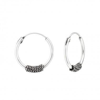 Bali oorbellen hoops mixed chain 6 (10mm) 925 sterling zilver (per paar)