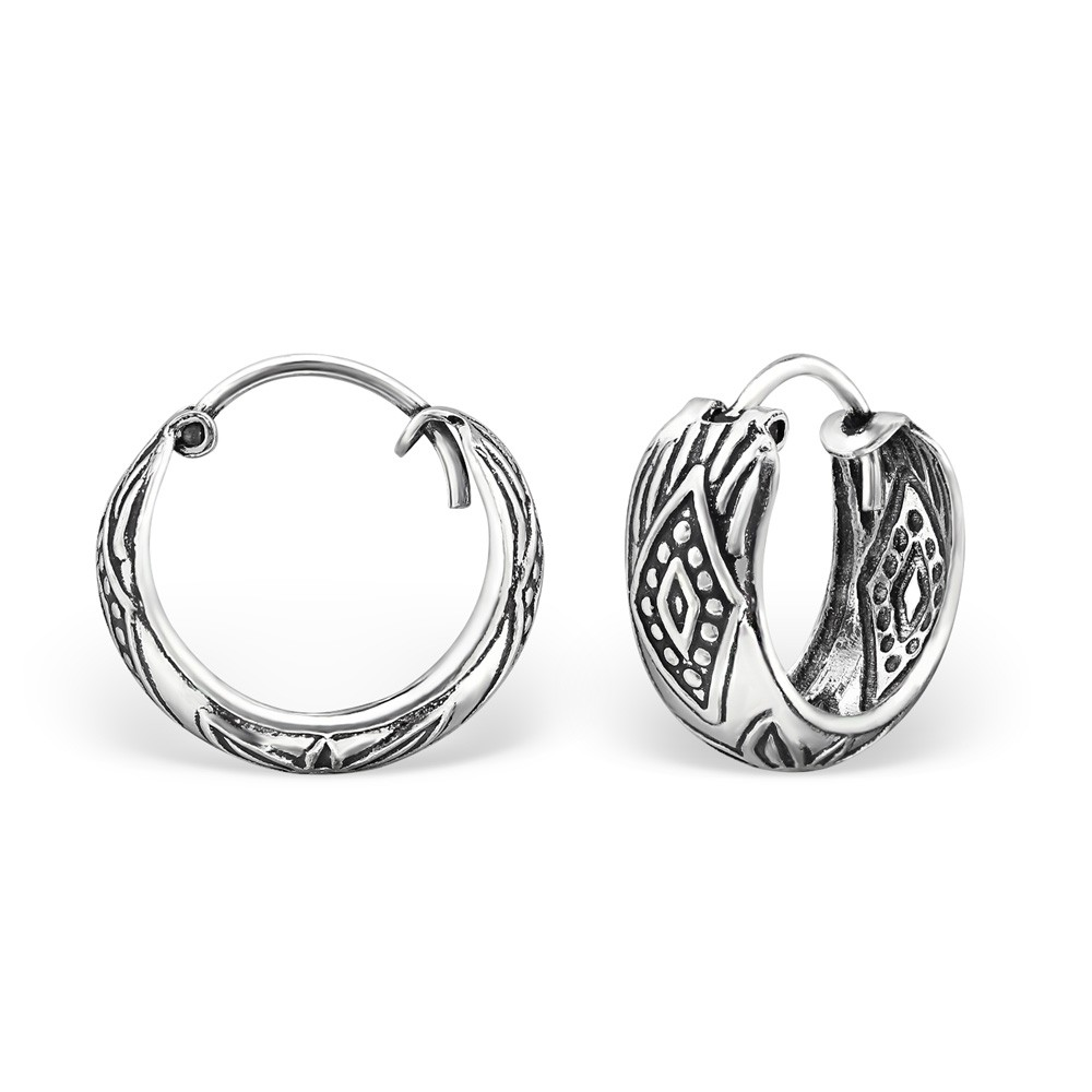 Bali oorbellen wide hoops mix 2 (15mm) 925 sterling zilver (per paar)