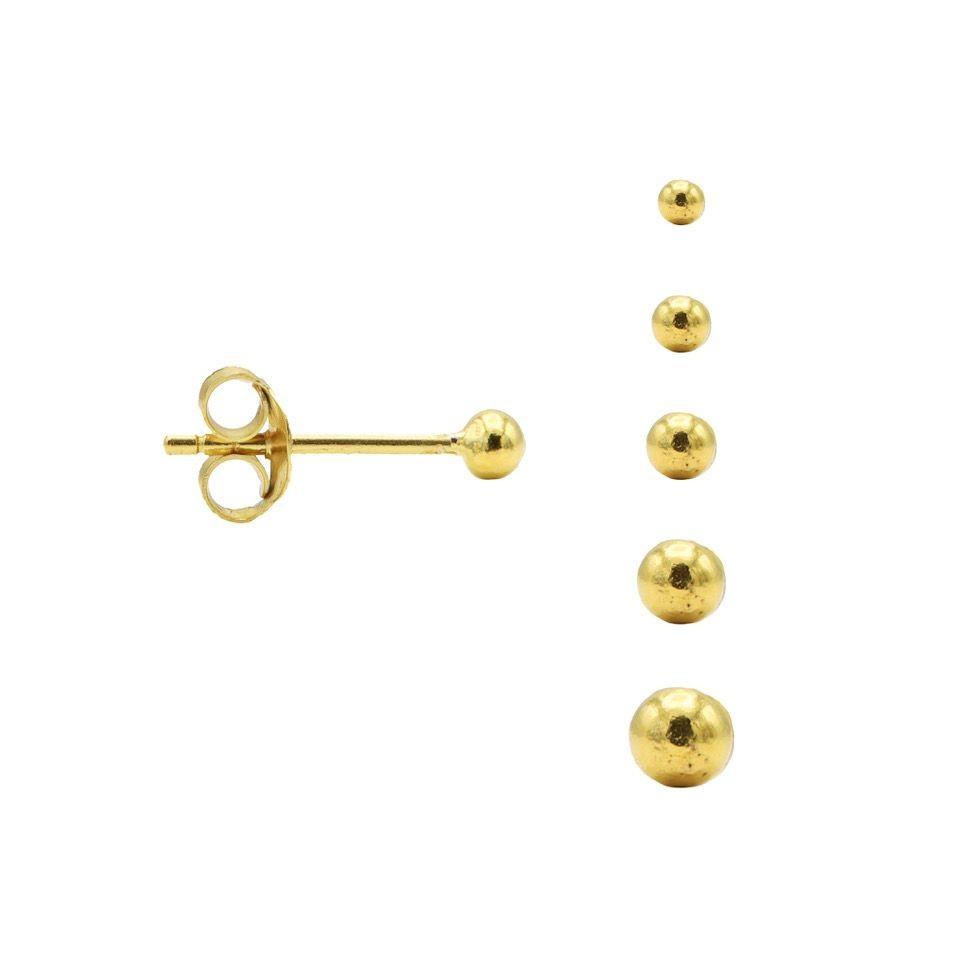 Karma minimalistische oorbellen balls 2mm 925 sterling zilver (goldplated) (per paar)