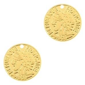 Bedel bohemian muntje goud 10mm
