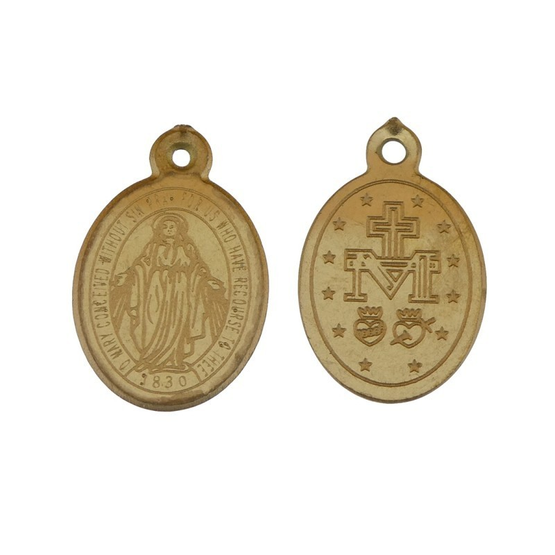 Bedel religie ovaal stainless steel 9x14mm goud