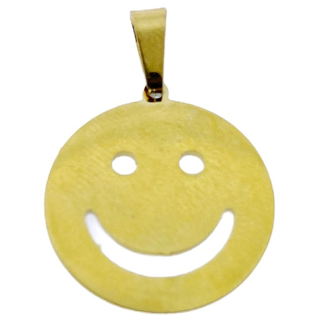 Bedel smiley rond stainless steel goud 18mm