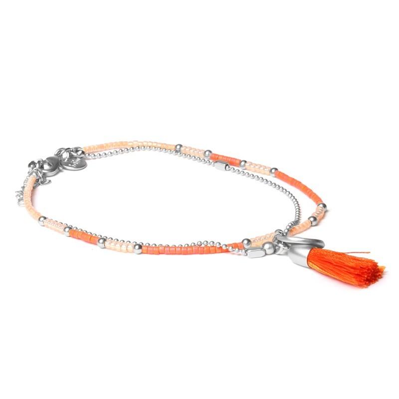 Biba enkelbandje dubbele ketting oranje kraaltjes met kwastjes zilver