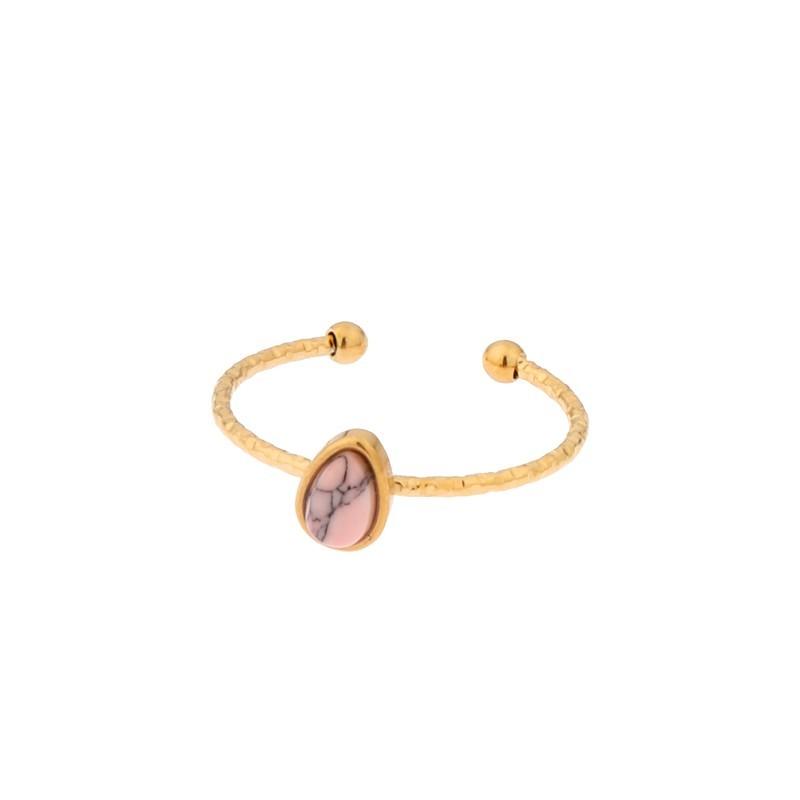 Biba ring druppel goud stainless steel licht roze