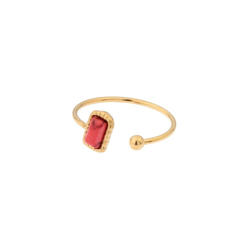 Biba ring open rechthoek goud stainless steel koraal