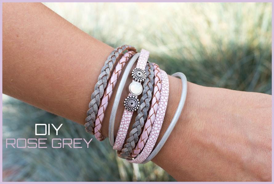 DIY pakket armband Rose grey