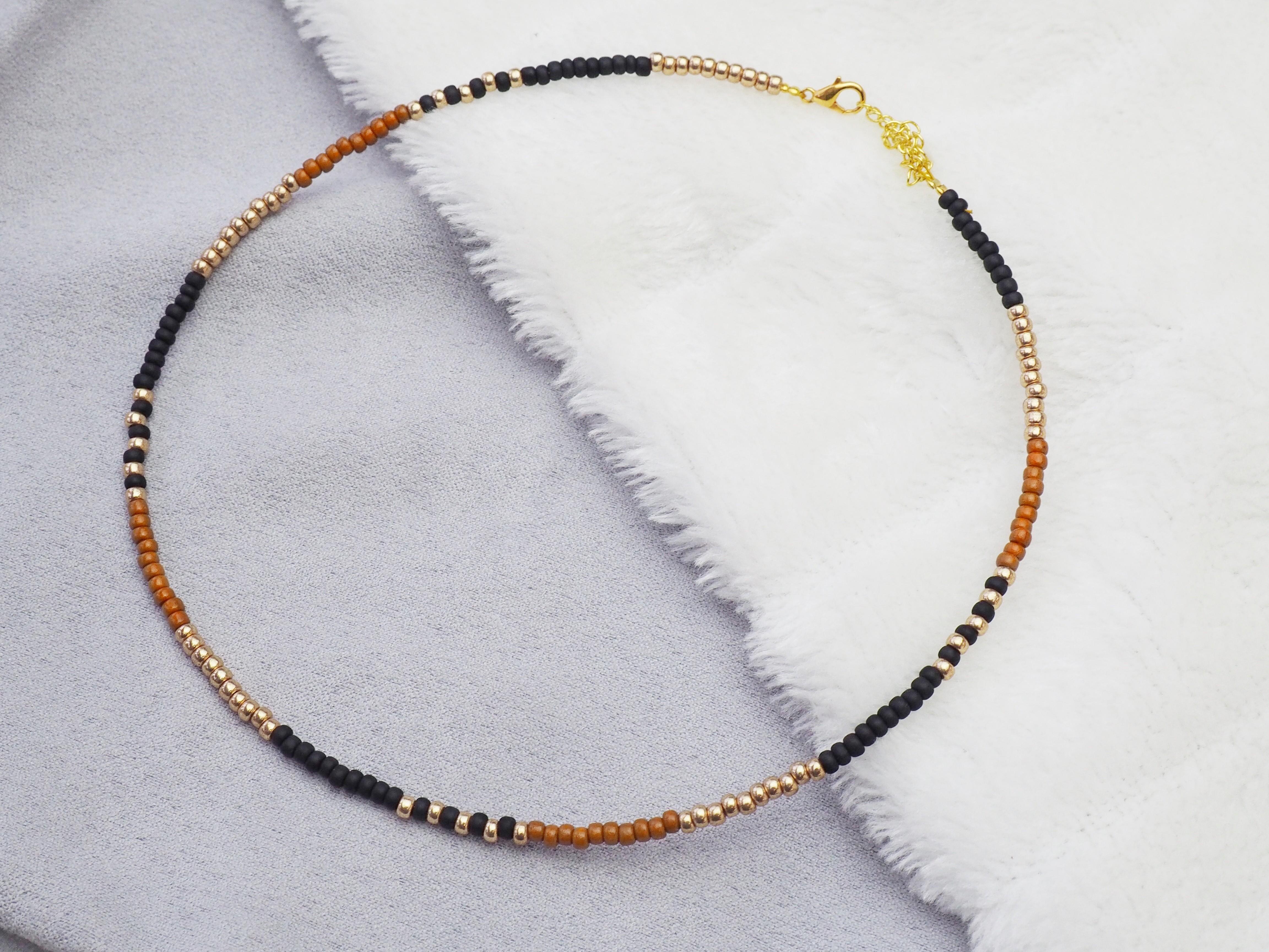 diy-pakket-ketting-miyuki-rocailles-zwart-camel-goud