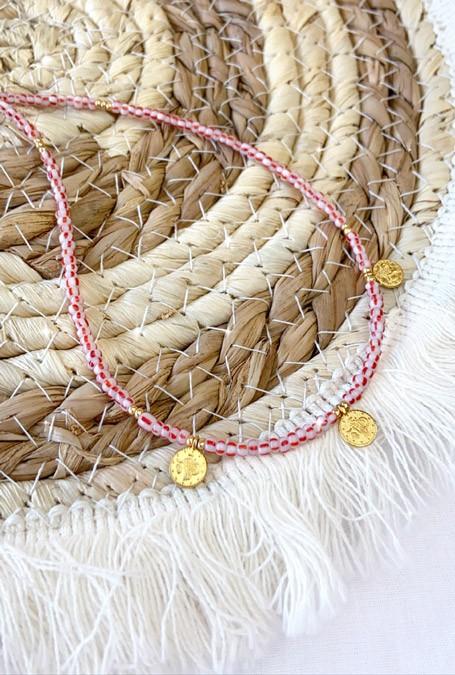 DIY pakket ketting striped white-red kraaltjes & muntjes
