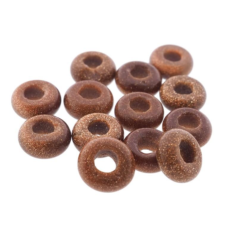 Donut edelsteen kraal gold stone 10.5mm