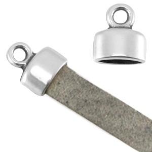DQ eindkap 9x8mm zilver (geschikt voor 5mm plat leer/koord)