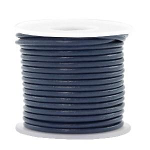 DQ leer rond 2mm navy blue 1 meter