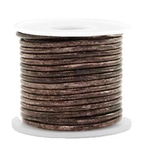 DQ leer rond 2mm vintage driftwood brown metallic 1 meter