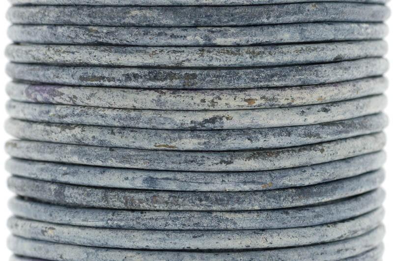 DQ leer rond 3mm vintage dark blue 1 meter
