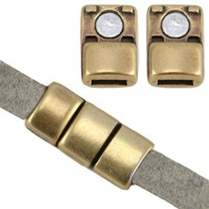 DQ magneetslot 18x8mm brons (voor 5mm plat leer/koord)