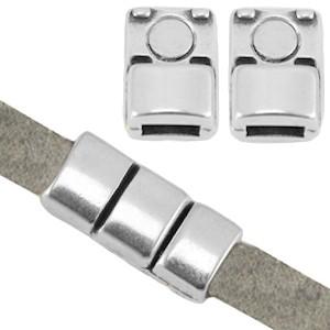 DQ magneetslot 18x8mm zilver (voor 5mm plat leer/koord)