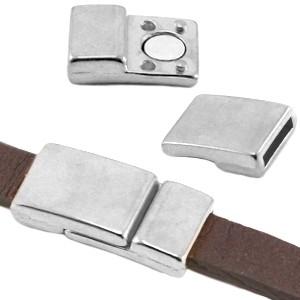 DQ magneetslot 28x14mm zilver (voor 10mm plat leer)