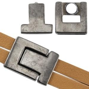 DQ magneetslot 33x24mm zilver antraciet (voor 20mm plat leer / koord)