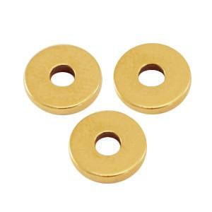 DQ metalen disc rondellen 6x1mm Antiek goud (nikkelvrij)