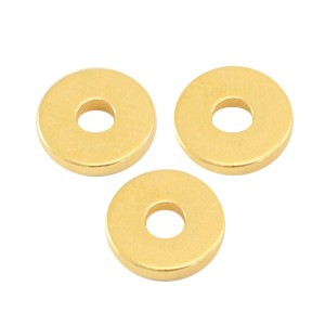 DQ metalen disc rondellen 6x1mm goud (nikkelvrij)
