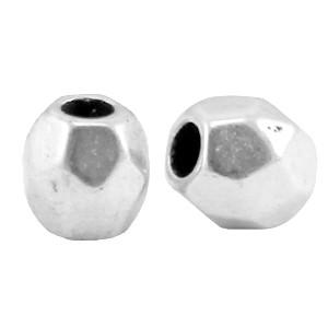 DQ metalen facet kraal 4x4mm zilver