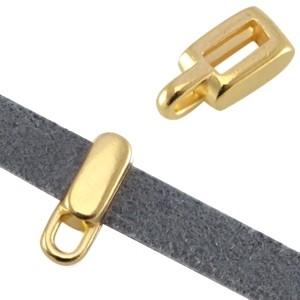 DQ metalen schuiver met oog rechthoek goud (voor 5mm plat leer/koord)