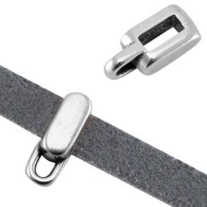 DQ metalen schuiver met oog rechthoek zilver (voor 5mm plat leer/koord)