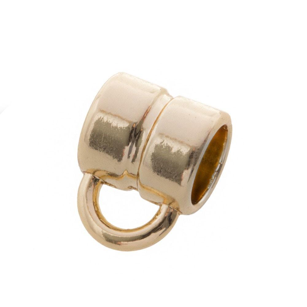 DQ metalen schuiver rond met oog goud 4x4mm (voor rond leer / koord tot 2mm)