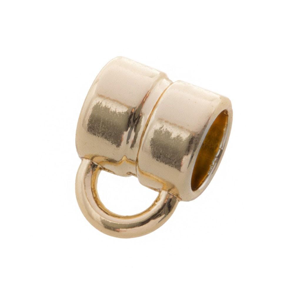 DQ metalen schuiver rond met oog goud 5x5mm (voor rond leer / koord tot 3mm)