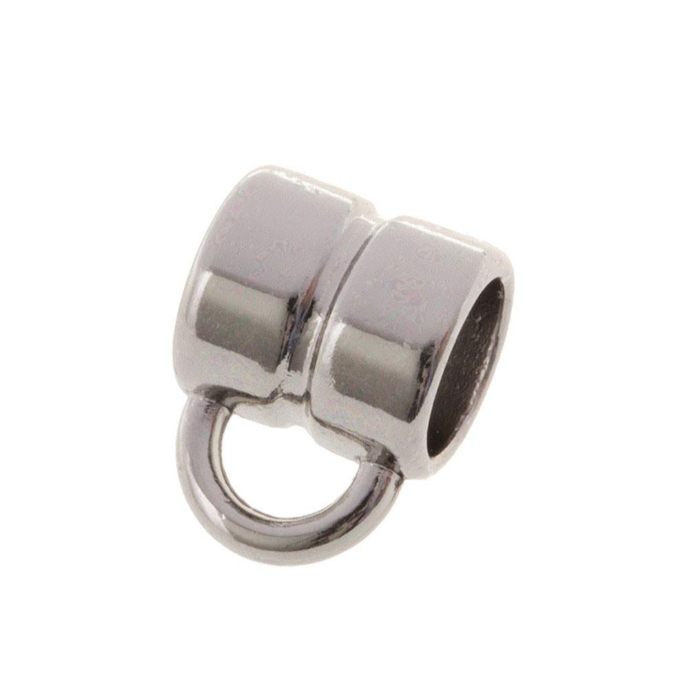 DQ metalen schuiver rond met oog zilver 4x4mm (voor rond leer / koord tot 2mm)