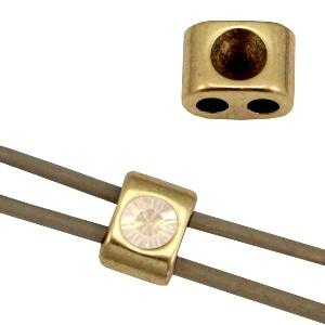 DQ metalen schuiver / setting antiek brons 11x8mm voor Swarovski SS24 (geschkikt voor 3mm rond leer / draad)