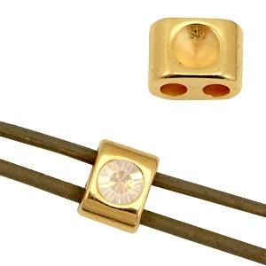 DQ metalen schuiver / setting goud 11x8mm voor Swarovski SS24 (geschkikt voor 3mm rond leer / draad)