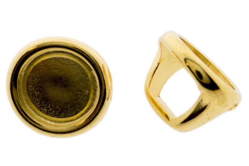 DQ metalen schuiver / slider rond goud 16x12mm (voor Polaris cabochon 12mm)
