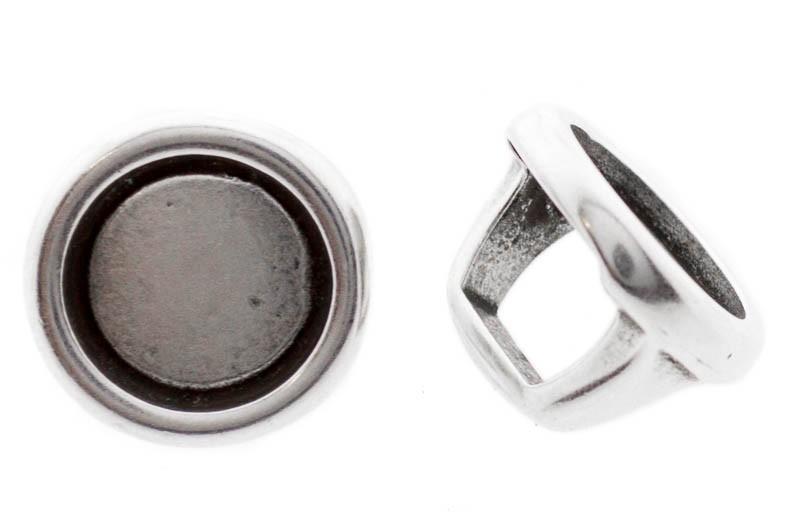 DQ metalen schuiver / slider rond zilver 16x12mm (voor Polaris cabochon 12mm)