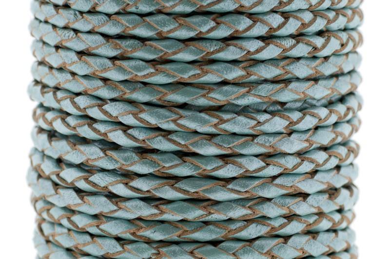 DQ rond gevlochten leer 3mm aqua metallic per 20cm