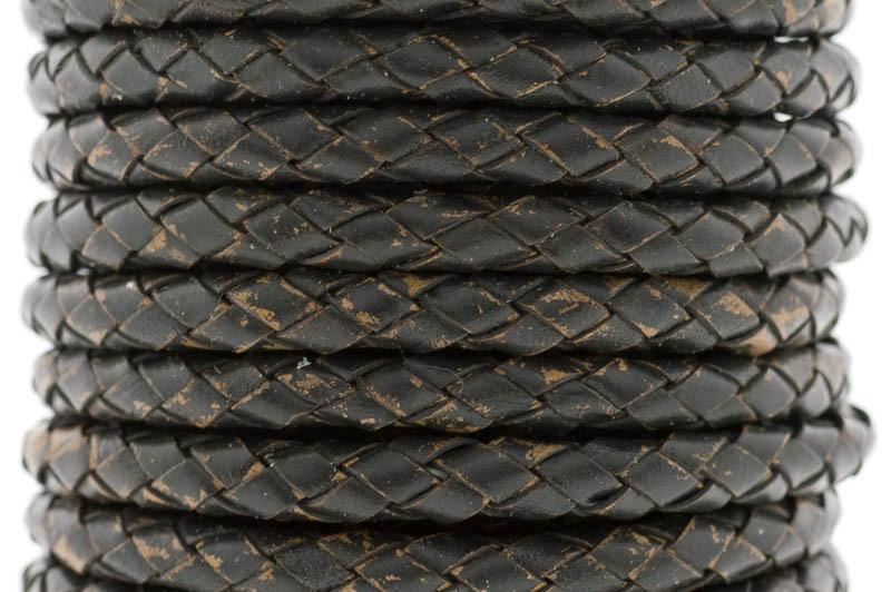 DQ rond gevlochten leer 5mm bruin zwart per cm