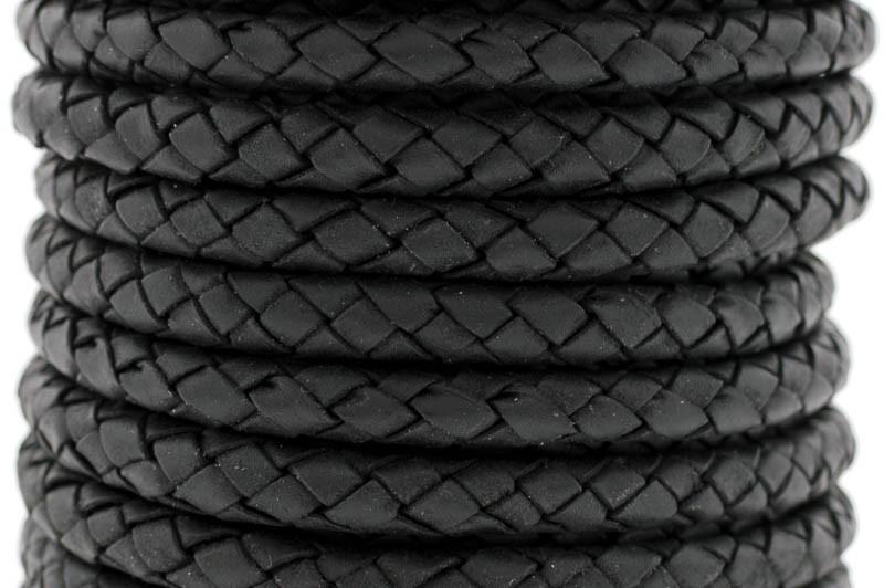 DQ rond gevlochten leer 5mm zwart per cm