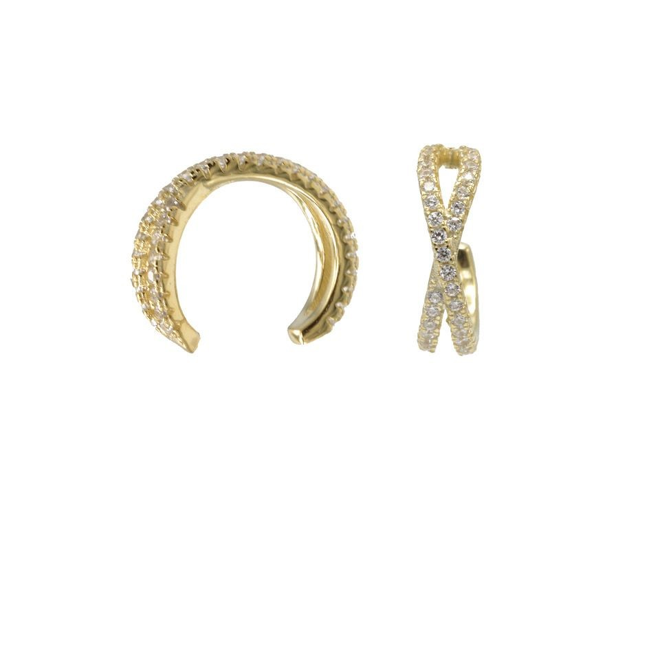 Karma earcuff double zirconia 925 Sterling Silver goldplated (1piece)