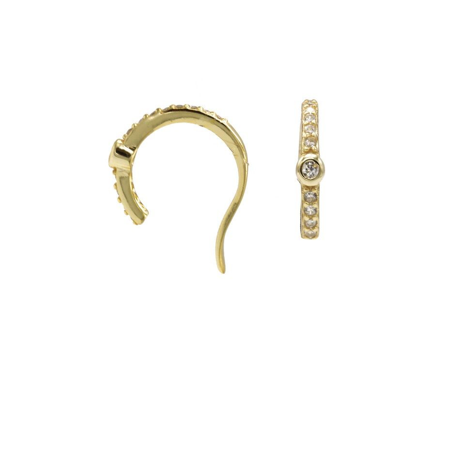 Karma earcuff zirconia middle dot 925 Sterling Silver goldplated (1piece)