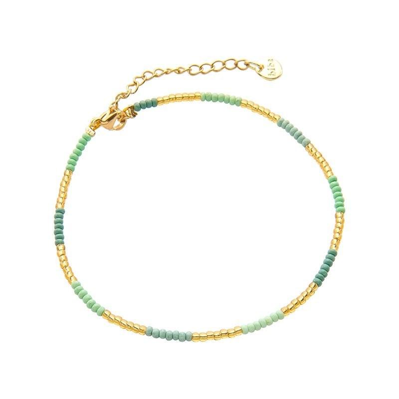 Enkelbandje kralen Biba kleurenmix groen goudkleurig