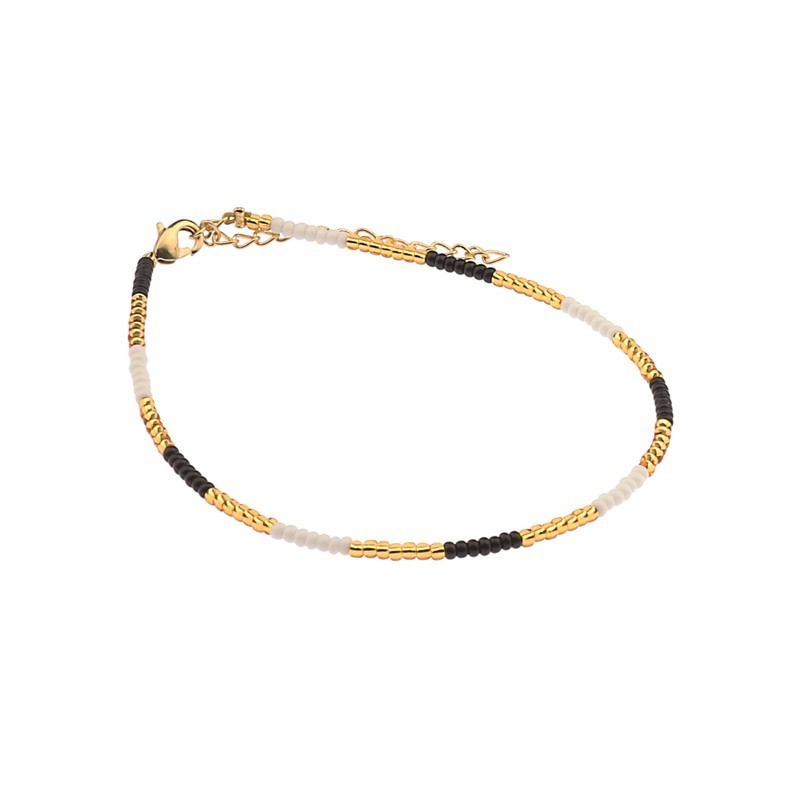 Enkelbandje kralen Biba kleurenmix zwart goudkleurig
