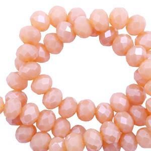 Facet glaskraal Beige rose opal-pearl shine coating 4x3mm